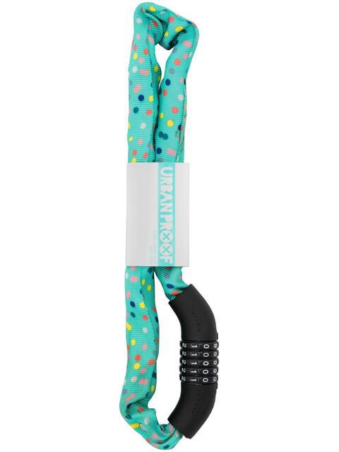 URBAN PROOF Code Chain Lock Zapięcie rowerowe 8mm x 90cm turkusowy/kolorowy
